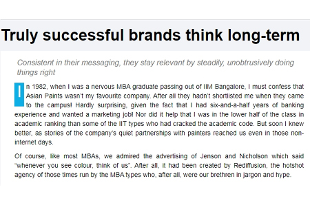 Truly successful brands think long-term